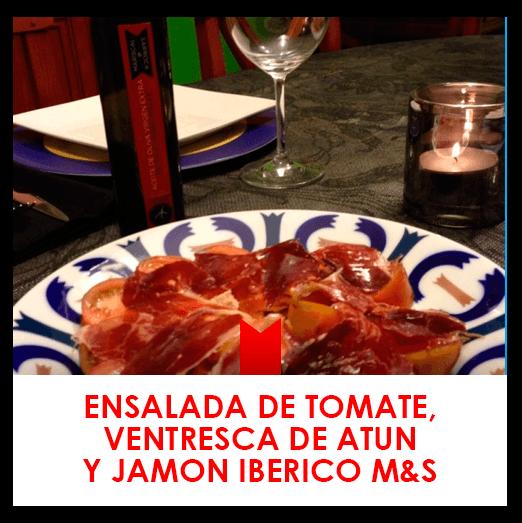 17 marzo: ensalada de tomate, ventresca de atún y jamón ibérico