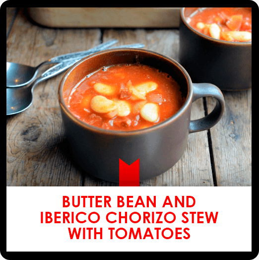 Butter bean and iberico chorizo stew with tomatoes recipe