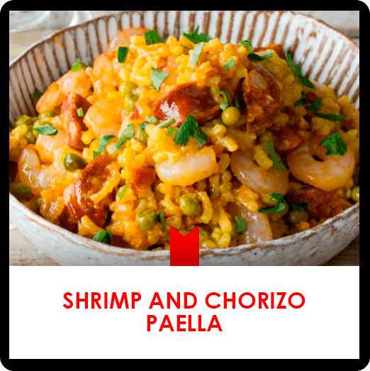 Shrimp and chorizo paella with saffron recipe