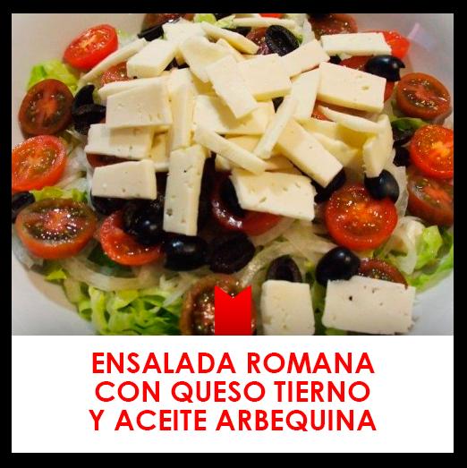 Ensalada romana con queso tierno y aceite arbequina
