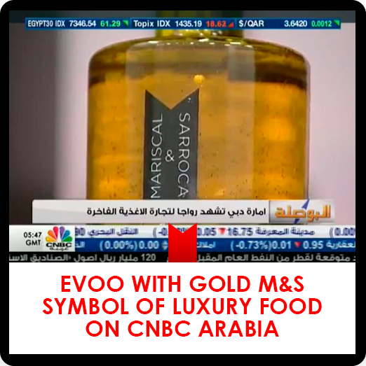 Extra Virgin Olive Oil with Gold Mariscal & Sarroca, symbol of luxury food on CNBC Arabia