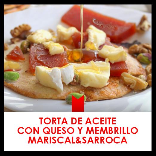 Torta de aceite con queso y membrillo Mariscal & Sarroca, frutos secos y miel